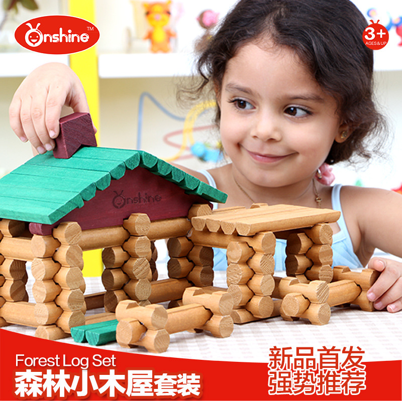 Forest Small Wooden Built Wooden Lincoln Creative Building House Log Blocks 90pcs(China (Mainland))