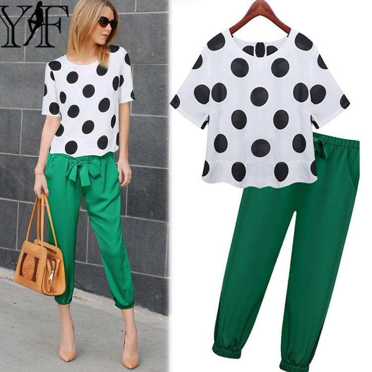 Chiffon Trouser Suit 2016 Women 2 Piece Set Dot Short Sleeve Crop Top Green Pants Fashion Plus Size L-5XL Women Suits YF02Одежда и ак�е��уары<br><br><br>Aliexpress