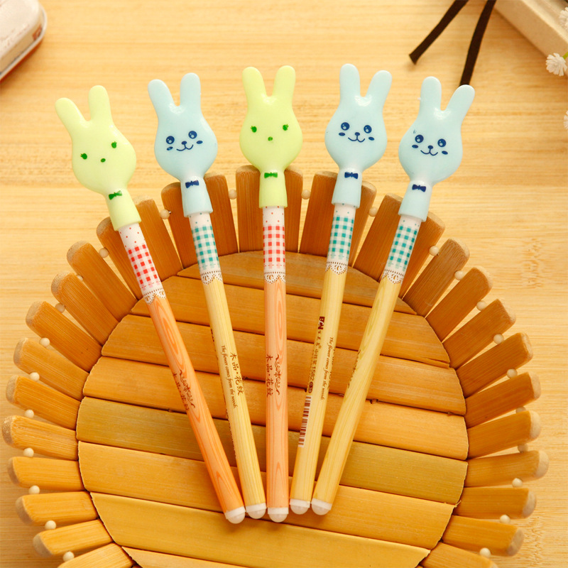 12pcs/lot Cute Cartoon Rabbit Ears gel pens for writing Kawaii Lace Plastic pen Kid gift stationery office school supplies Zakka