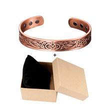 Vinterly Pure Copper Bracelet Men Energy Magnetic Adjustable Cuff Bracelet Femme Vintage Viking Wide Bracelets Bangles For Women(China)