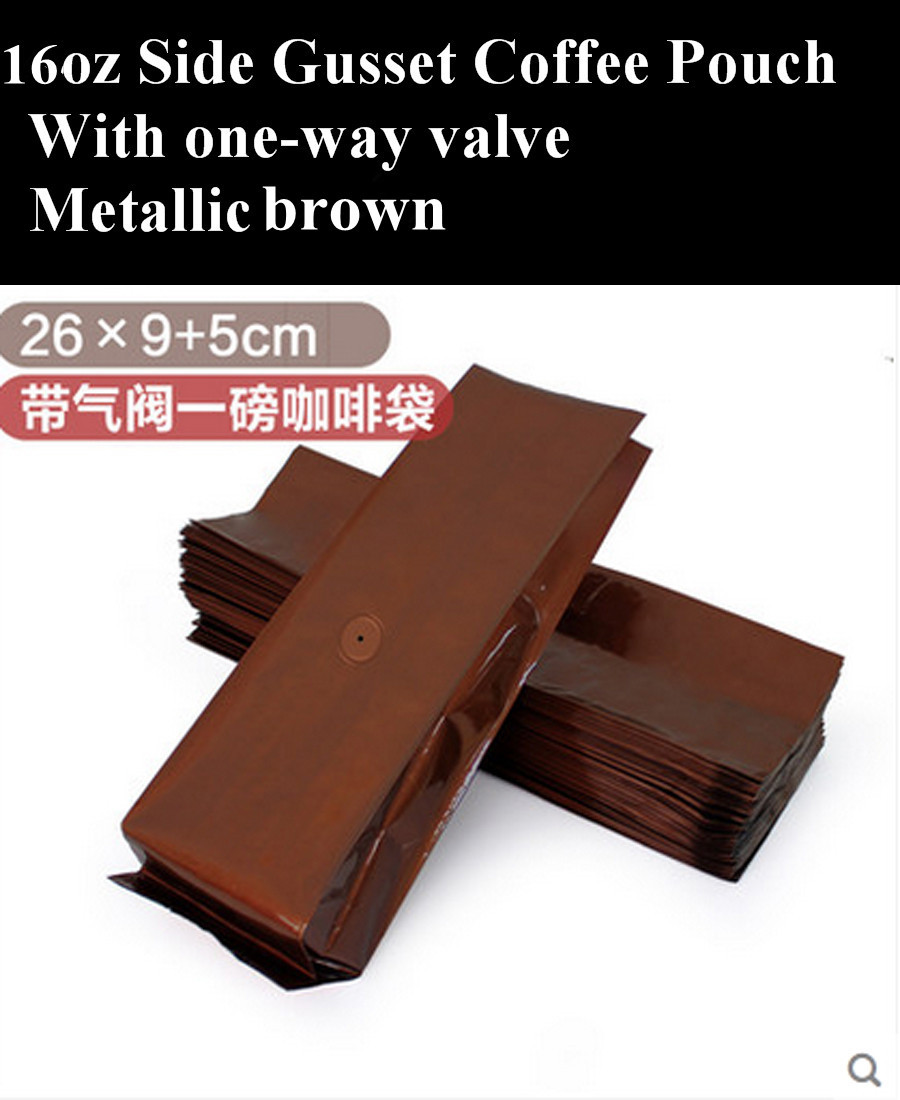 1lb Metallic Brown Quad Sealed Coffee Pouch with One Way Valve, 100pcs/lot, Free Shipping(China (Mainland))