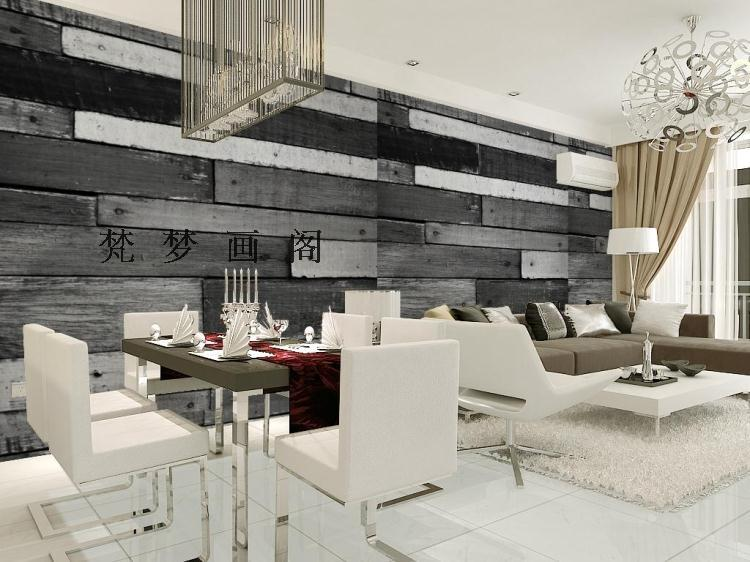 Free Shipping gray and white black and white wood wallpaper sofa backdrop large mural non-woven wallpaper(China (Mainland))