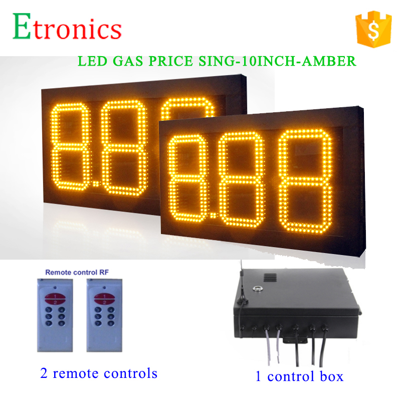 Gas station advertising price board 2pcs 10 inch Fuel Price sign with 1 controller 2 remotes Petrol LED Gas price Signs 3 digits(China (Mainland))
