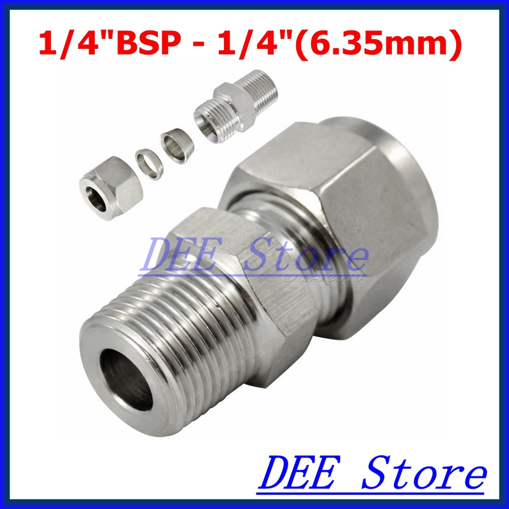 """3PCS 1/4""""BSP x 1/4""""(6.35mm) Double Ferrule Tube Pipe Fittings Threaded Male Connector Stainless Steel SS 304 New Good Quality(China (Mainland))"""