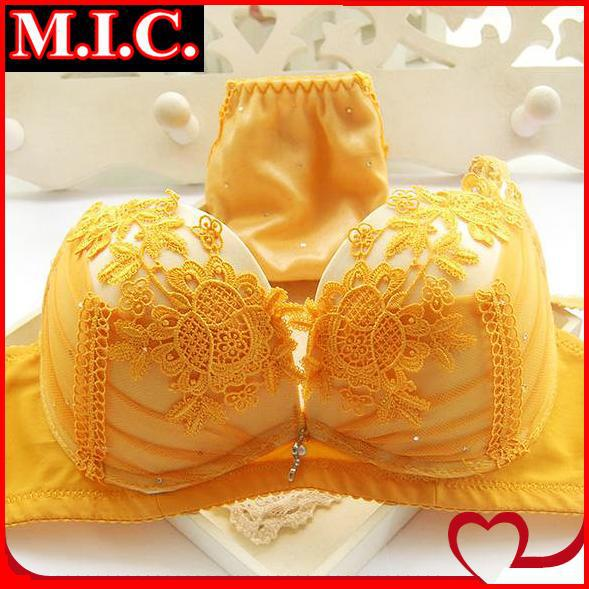 Super fairy Cake layer push up bra & brief sets sexy lace thin cotton pad embroidery white young girl underwear bra set(China (Mainland))