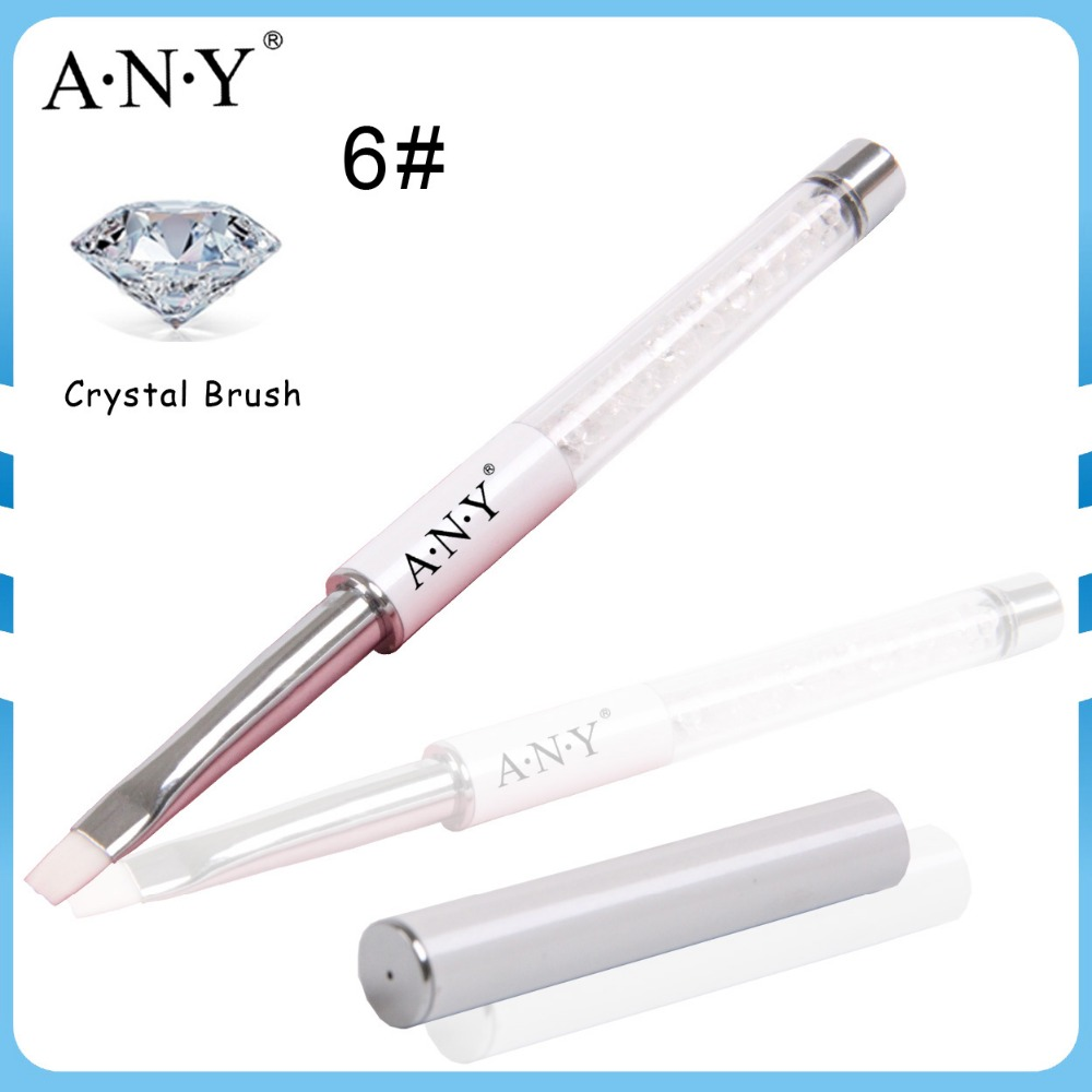 High Quality ANY Middle Metal Acrylic Handle White Nylon Hair Crystal Gel Nail Brush 6#/Flat Single Piece(China (Mainland))