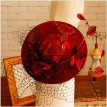 Vintage Organza Red Farbe Hochzeit Braut Hüte Prinzessin Blume Mädchen Haarschmuck Billycock mit Schwarz Mesh(China (Mainland))
