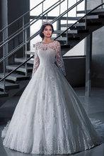 Elegant Vestido De Novia Vintage White Ball Gown Wedding Dress with Sleeves Robe De Mariage Princesse Brial Gown 2015(China (Mainland))