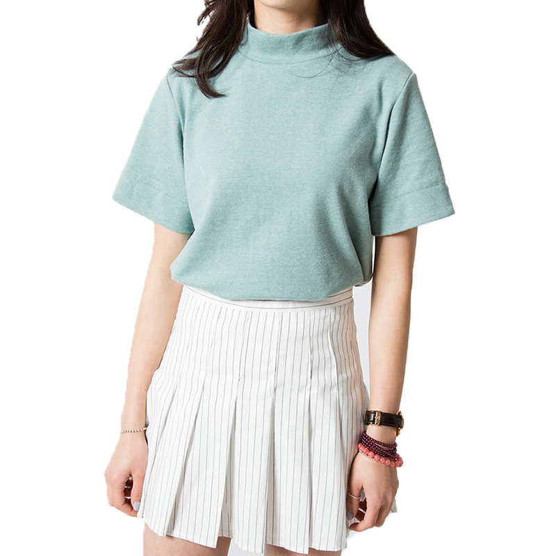 New Fashion 2016 Summer Korean Style All match Solid Surtleneck Short Sleeve Women T shirt Female