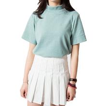 New Fashion 2016 Summer Korean Style All-match Solid Surtleneck Short Sleeve Women T-shirt Female Shirt Fresh Color Women Tops