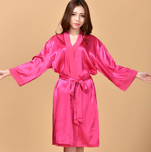 Silk Satin Bride Bridesmaid Robe Long Sleeve Bathrobe Night Kimono Robe Large Size Bath Robe Elegant Dressing Gown For Women(China (Mainland))
