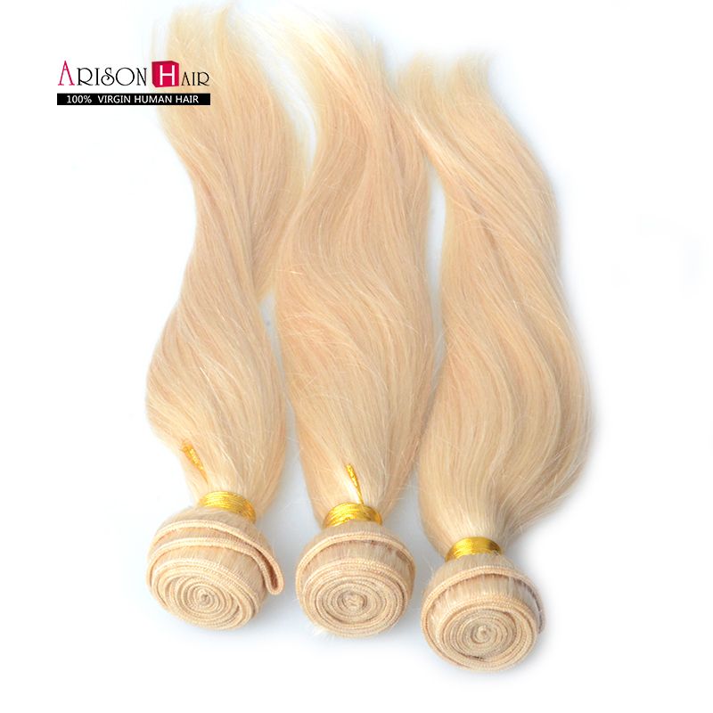 7a Russian blonde virgin hair weaves 3pcs lot Brazilian 613 human hair straight blonde remy hair extensions 10-32inch wholesale<br><br>Aliexpress