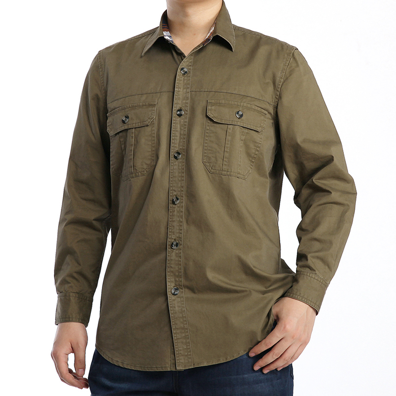 Men 39 s plus size 7xl shirt casual military style mens for Mens dress shirt sleeve length