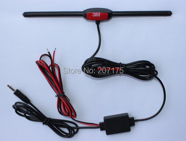 Hot !!! Car Analog TV Antenna with DC 3.5 Connector, Booster Amplifier for Car DVD Player Radio GPS TV Aerial, Free shipping(China (Mainland))