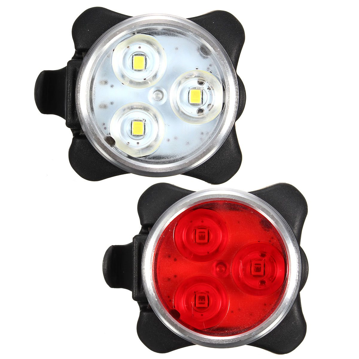 USB Rechargeable Cycling Bicycle Bike 3LED Head Front Rear Tail Clip Light Lamp(China (Mainland))