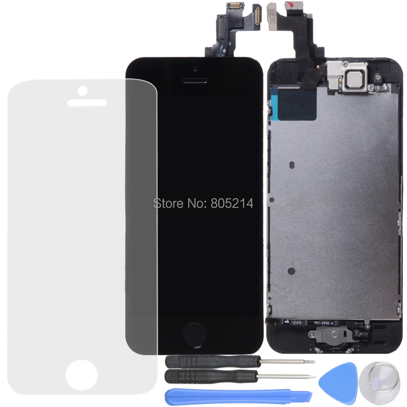 Touch Screen Digitizer + LCD Display Digitizer Assembly+Mesh+Front Camera+Earspeaker+Honebutton+Free Tool for iPhone 5s IPH2010(China (Mainland))