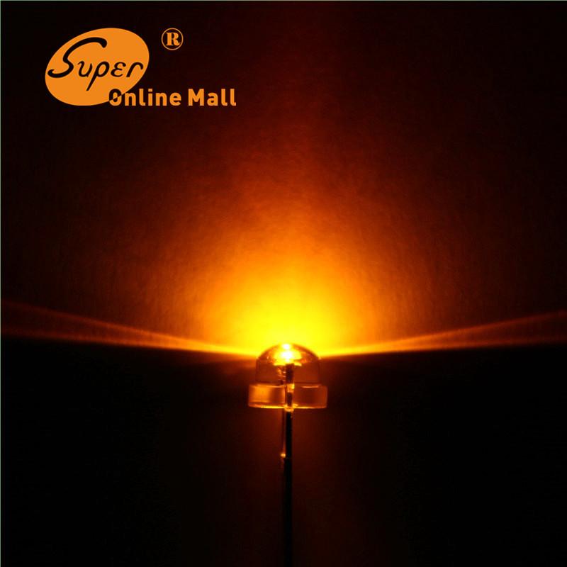 100 pcs/lot Led 5mm straw hat orange/amber leds Light Emitting Diodes 4.8mm Water Clear ultra bright Wide Angle LED(China (Mainland))