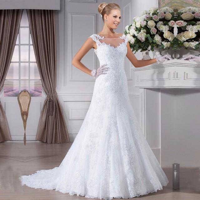Новое поступление русалка свадебные платья совок кружева аппликация рукавом старинные ...