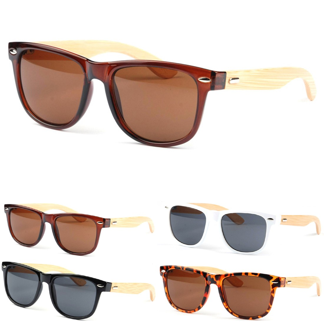new-fashion-Bamboo-Frame-Sunglasses-Glasses-Leopard-Gray ...