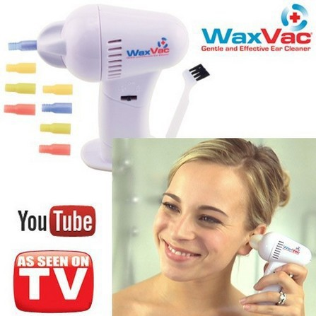 New WAXVAC CORDLESS VACUUM EAR CLEANING SYSTEM CLEAN EAR WAX VAC AS SEEN ON TV Free Shipping(China (Mainland))