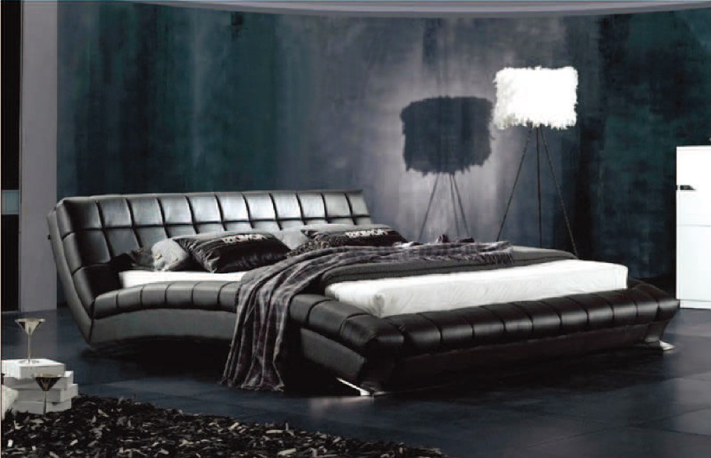 Design Slaapkamer Meubilair : Top Grain Leather Bed King