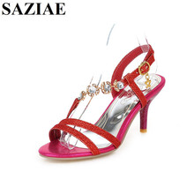 Buy 2017 Wedding Women Sandal Thin High Heels Sexy Sandals Rhinestone Summer Shoes Gladiator Heels Open Toe Hollow Bling Glitte for $28.16 in AliExpress store
