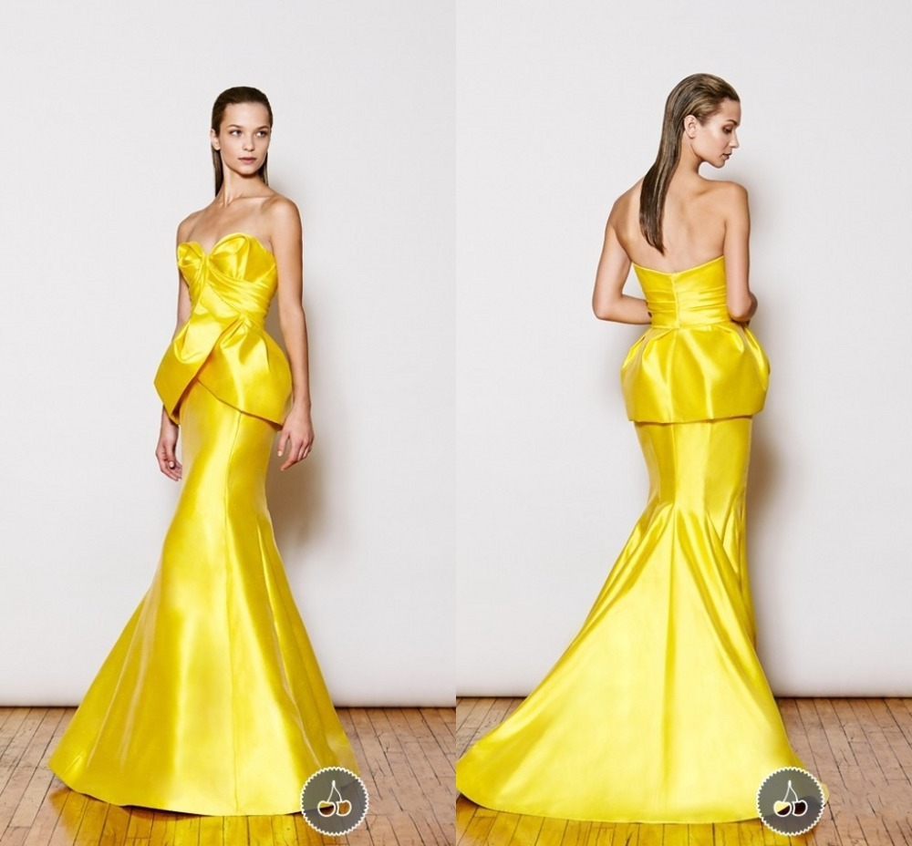 Bright yellow evening dress sweetheart sleeveless mermaid for Three floor yellow dress