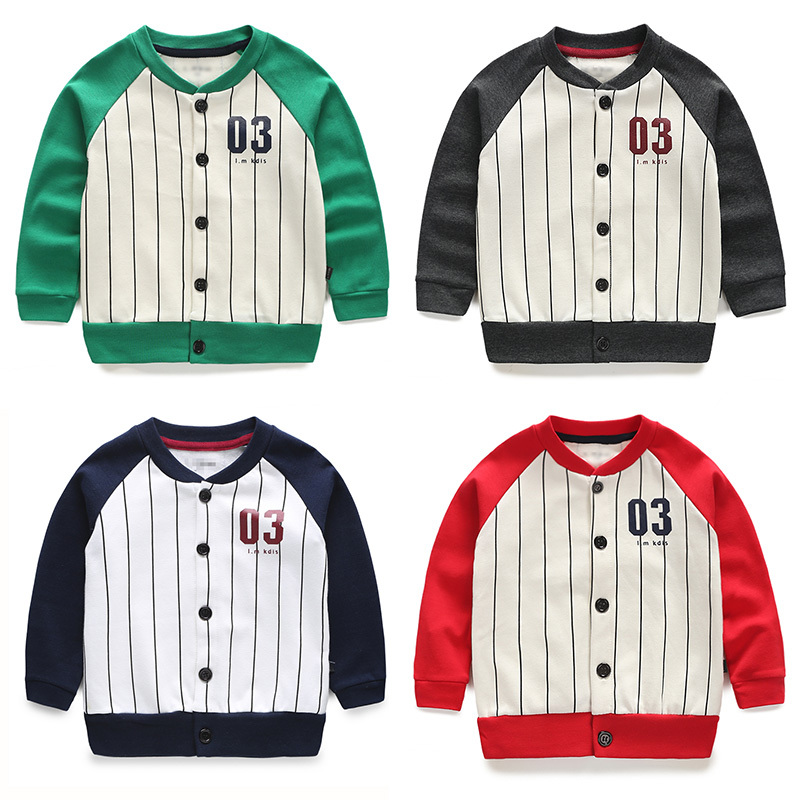 Children's baseball clothes 2015 spring new children's clothing boys and girls striped shirt jacket wt-4551(China (Mainland))