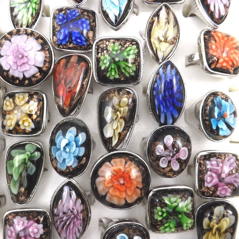 New Arrival European Style Rings Big Glass Finger Ring Glass Jewelry 50PCS/Lot(China (Mainland))
