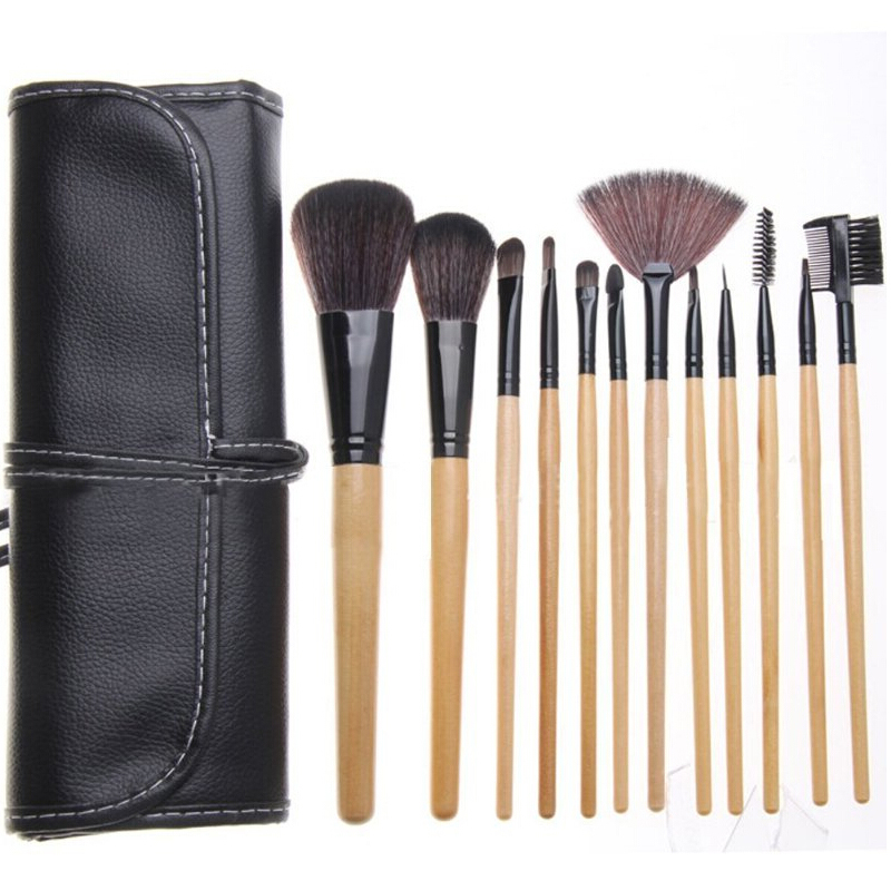 12Pcs Studio Makeup Brushes Powder Foundation Face Eye Makeup Brush Set Kit Blush Lip Eyebrow Eye Shadow Concealer Brush Case(China (Mainland))