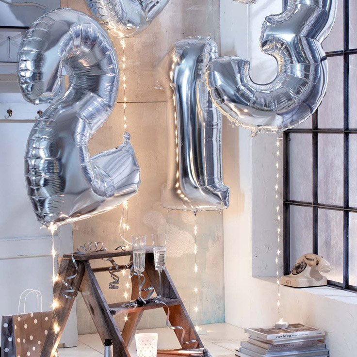 1pcs 16'' Cute Silver Alphabet Letters Number 1-9 Foil Balloons Happy Birthday Party Wedding Decoration Ballon(China (Mainland))