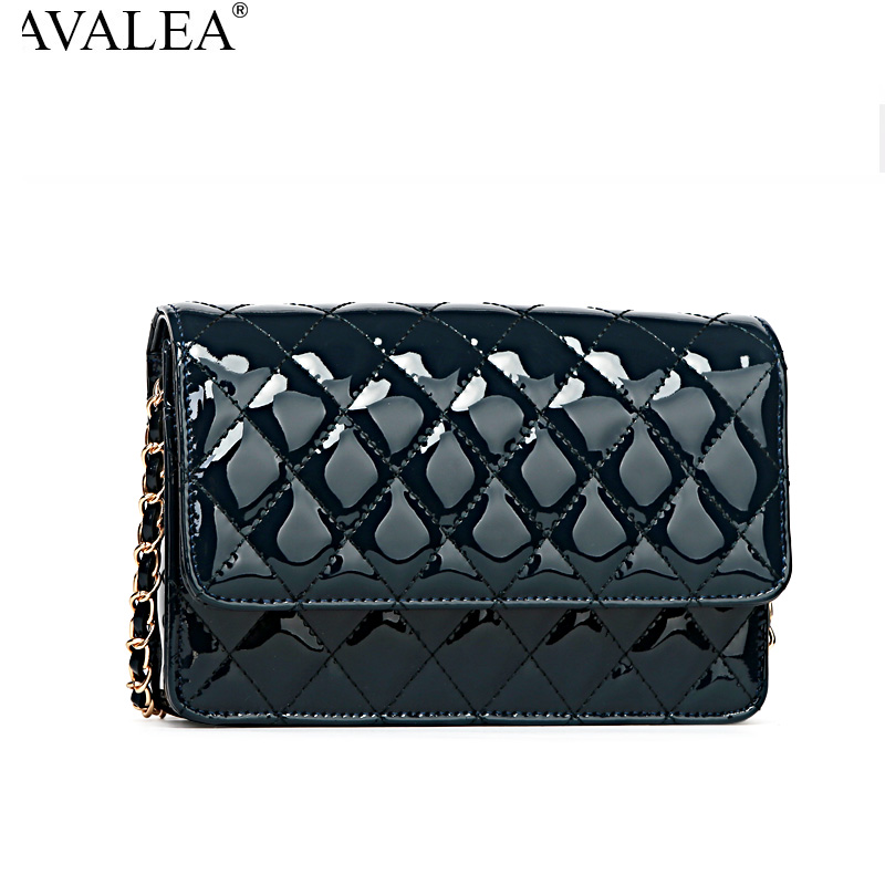 Avalea small plaid chain bag genuine leather messenger bag japanned leather one shoulder womens handbag first layer of cowhide<br>