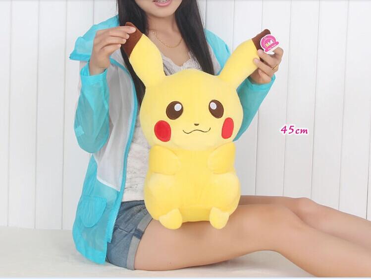 lovely Pikachu toy high quality pikachu toy yellow plush Pikachu doll gift about 45cm(China (Mainland))