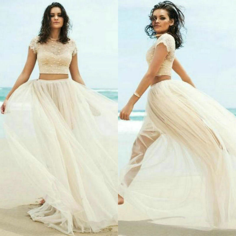 2 Piece Beach Wedding Dresses : Two piece wedding dresses cap sleeves tulle lace beach gowns