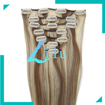 """TOP QUALITY 20""""Clip in 7pcs Hair Extension #8/613 chesnut brown/light blond,70g/set"""