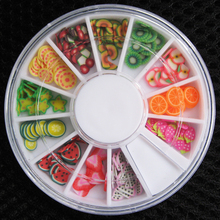 200 pcs 3D Polymer Clay Tiny Fimo Fruit slices Wheel Nail Art DIY Designs Wheel Nail Art Decorations Wholesale