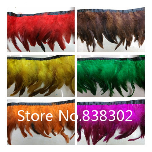 dyed Chicken Feathers Trim Fringe Ribbon Plumages rooster tail feather For Decoration DIY cloth bag(China (Mainland))