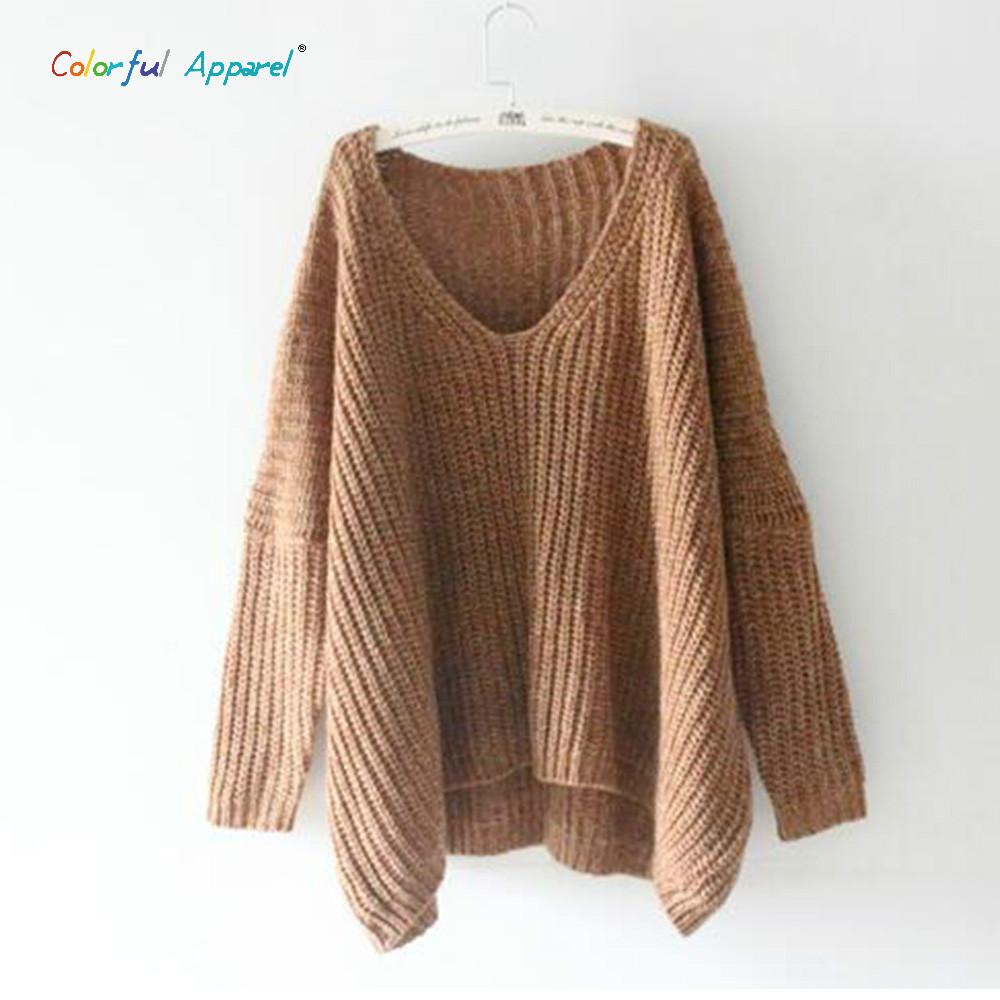 Best Wholesale 2016 Women\'Ss V Neck Batwing Sleeve Sweater Oversized ...