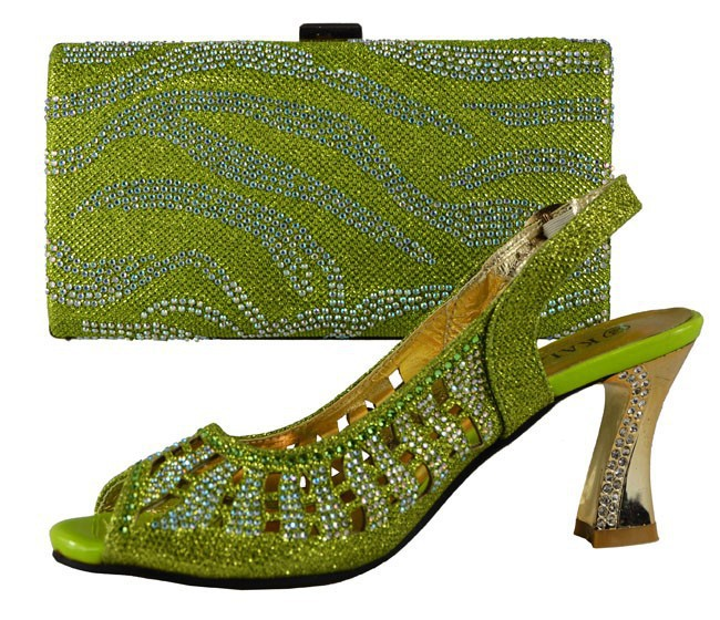 Free shipping women's shoes and bags set!high class African style shoes and matching bags for party!708-4 green color shoes.(China (Mainland))
