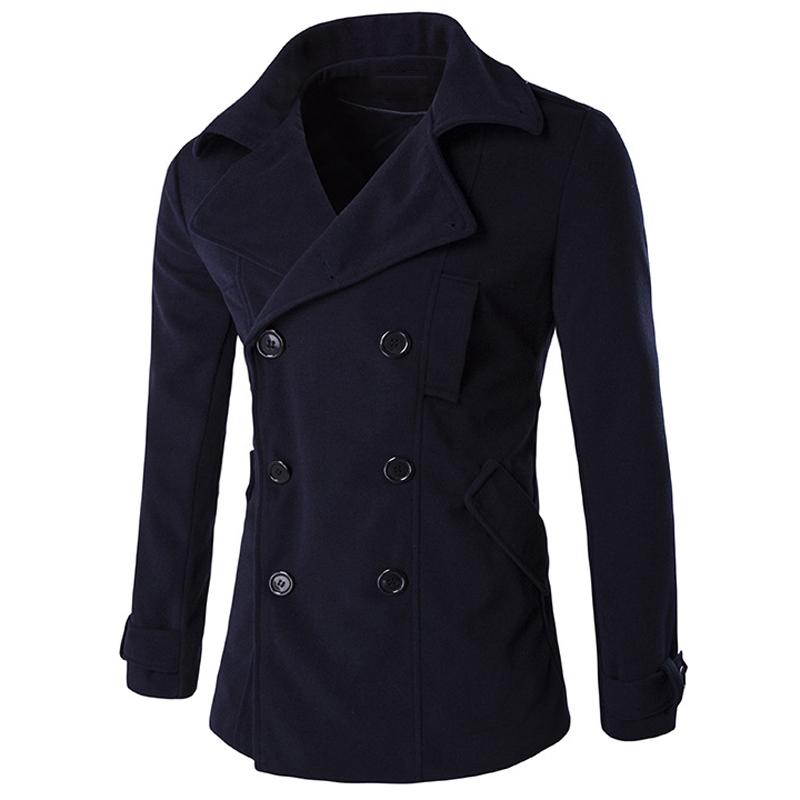 High Quality Mens Wool Pea Coats New Winter Style Men's Wool Winter Coat Streetwear Brand Designer Men Wool Coat Wholesale C113(China (Mainland))
