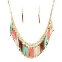 New Fashion Charm Jewelry Set Pendant Chain Resin Tassel Choker Statement Bib Necklace Earrings Four Colors Wholesale N32551(China (Mainland))