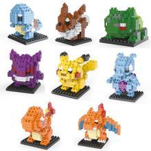 Pokemon Figures Model Toys Pikachu Charmander Squirtle Mewtwochild Snorlax Dragonite Lapras brinquedos Diamond Building Blocks