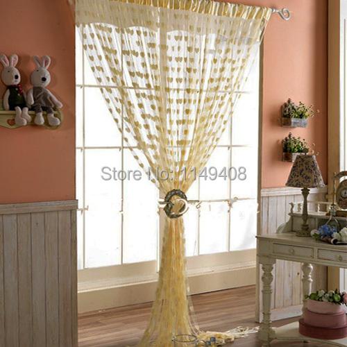 living room door curtains Romantic heart shaped cortina blinds sheer ...