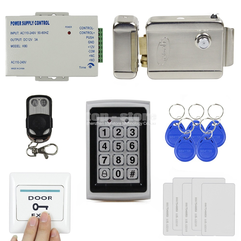 DIY 125KHz RFID Metal Case Keypad Door Access Control Security System Kit + Electric lock + Remote Control 7612<br>