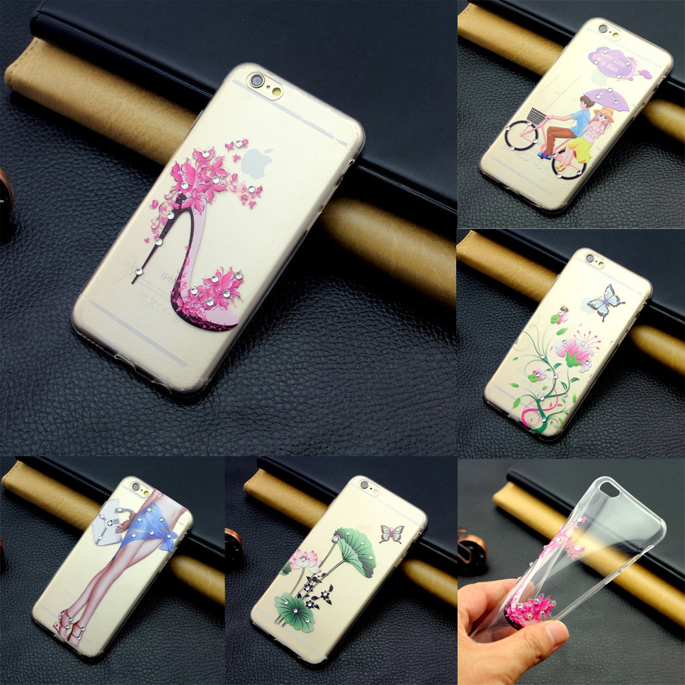 Free shipping Fashion Womens Painted Design Luxury Hard TPU Transparent Protective Case Cover For Apple iphone5 5G 5S/6 6plus(China (Mainland))