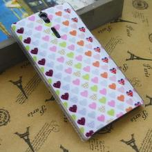 glass plastic fresh heart shape Painted Design phone case head case fancy hearts designed snap on back case cover J0468(China (Mainland))