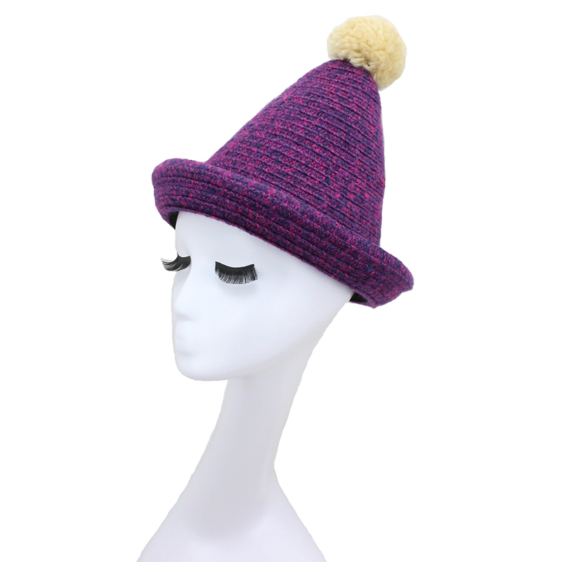 Purple color knitted hats Autumn women peaked caps 2015 new fashion design girls beanies hat free shipping(China (Mainland))