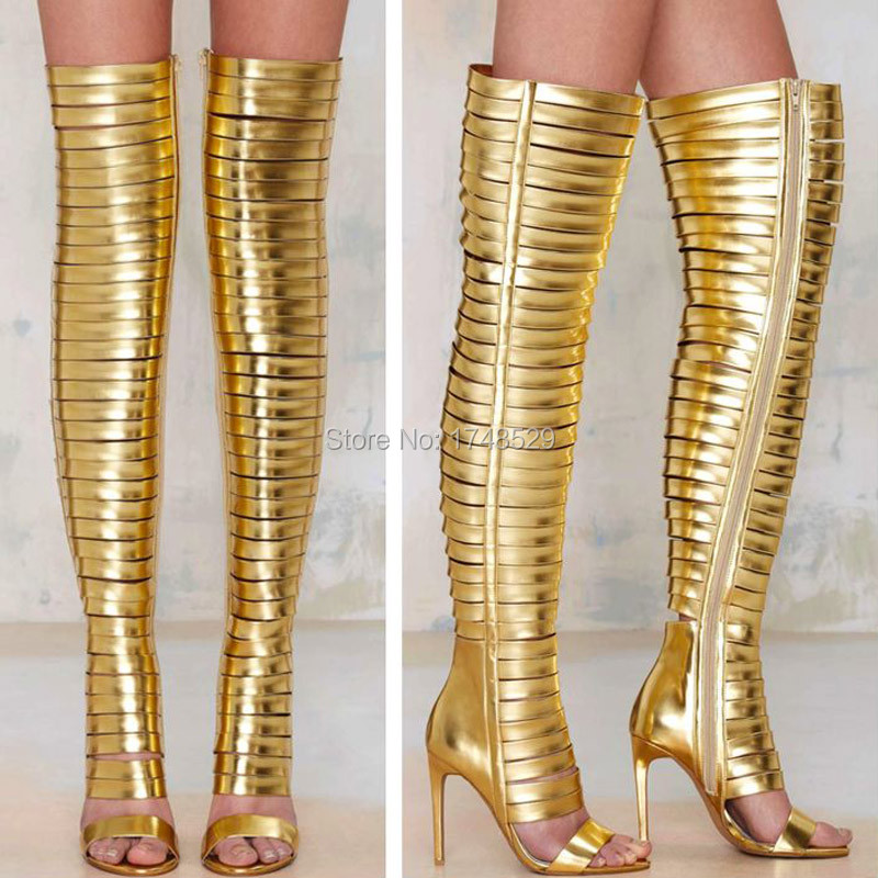 Bosting Metallic Gold Blinded Thigh High Boots For Woman High Heel Open Toe Cut outs Straps Gladiator Over Knee Booty Shoes<br><br>Aliexpress
