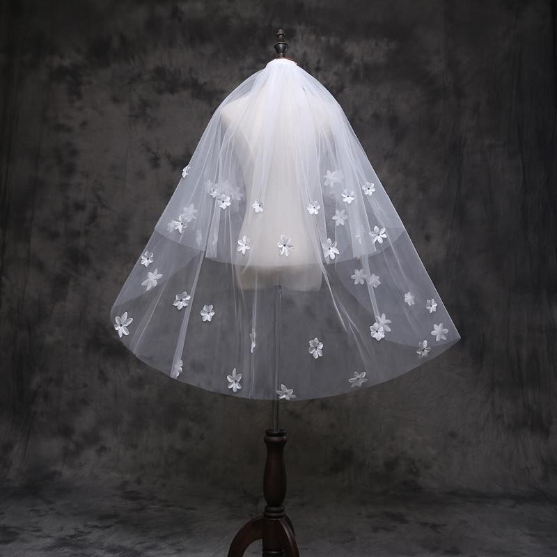 New Arrival Diamond Flowers Veil Short Design 2-layers Wedding Veil Bridal white wedding veil Ivory Wedding Veil with Comb v6018(China (Mainland))