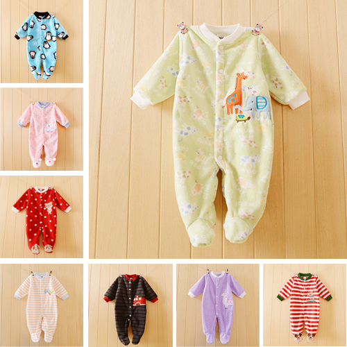 Newborn Baby Clothes Baby Boy Girls Romper Spring Autumn Baby Rompers Cotton and Polar Fleece Sleep&Play Clothes Baby Pajamas(China (Mainland))